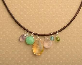 Citrine Necklace, Citrine Pendant, November Birthstone, Birthstone Necklace, Gemstone Leather Necklace, Healing Gemstone, Gemstone Meaning