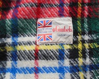 Colorful Tartan Plaid Wool Blanket Made in Ireland
