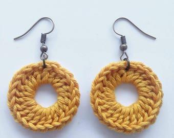 """Boucles d'oreilles Rondes """"Ambre"""", Handmade Earrings, Crochet Fibres Coton, Fait Main, Miss Fanfreluche"""