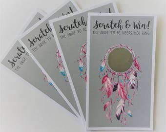 Games to Play at Bridesmaid Party, Dream Catcher Theme Party Games   Scratch-Off Cards, Wedding Scratch Card for Hen Party Games Boho Chic
