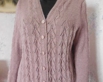 VEST V neck, made to order - pretty lace pattern front, back and sleeves - quality wool - fancy buttons