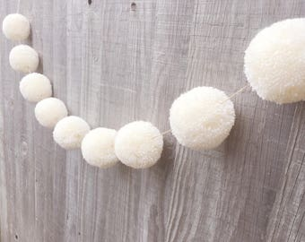 Luxury Pom Pom Garland - Cream - Large - Rustic Wedding - Party - Baby Shower - Home Decor - Giftforher - Pom Poms - celebration - party