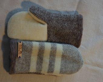 Maesie Mitten (gray stripes, white, brown)