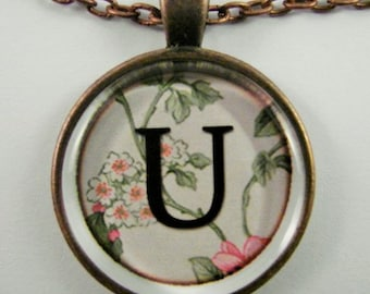 """Initial """"U"""" Necklace -- Spring pattern Personalized Letter U Necklace, Wedding Necklace, Bridesmaid Necklace, Hen Night Necklace, Friendship"""