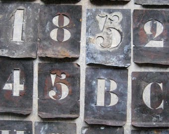 vintage french copper stencils, zinc stencils, alphabet, numbers, pochoirs, home decor