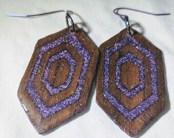Wood and glitter earrings