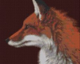 Red Fox,  Beaded Tapestry Pattern