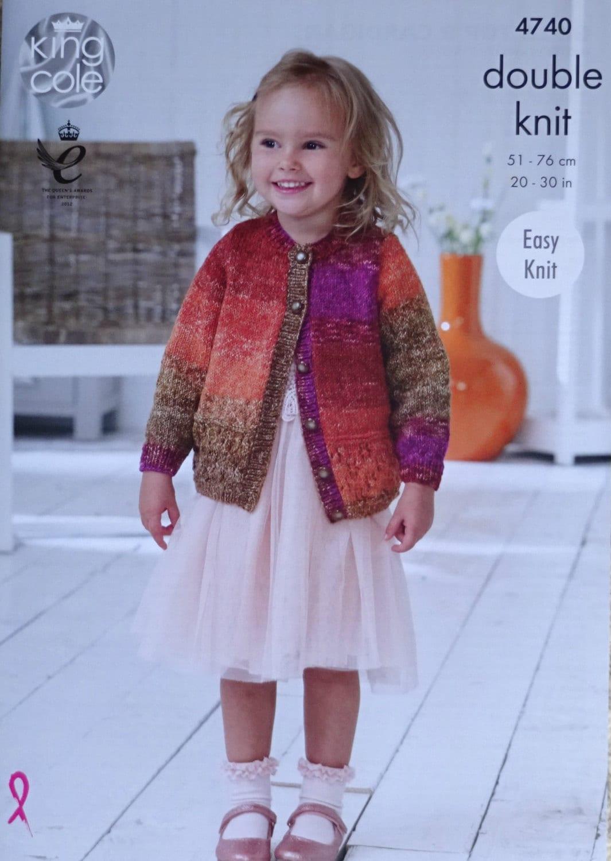 Girls Knitting Pattern K4740 Childrens Easy Knit Long Sleeve