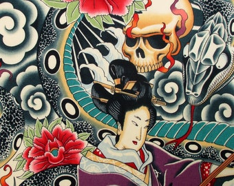 Fabric, Zen Charmer, Geisha Skulls Snake, Alexander Henry, Japanese Tattoo, By the Yard