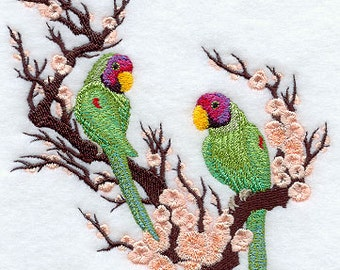 Asian Parakeet Duo Embroidered Flour Sack Hand/Dish Towel