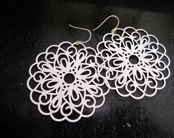 Silver Filigree Earrings, Bohemian, Extra Large, Hippie Style, Tribal Earrings, Moroccan Circles, Gypsy, Redpeonycreations