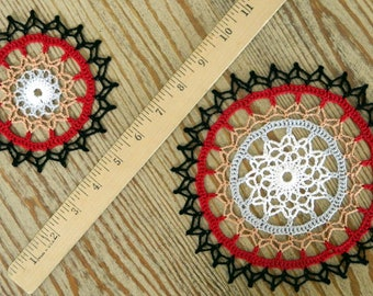 Multicolor Crochet Doily - Colorful Doily Small Large - Crochet Centerpiece - Red Black Orange Grey White - Floral Ring - Pair of Doilies