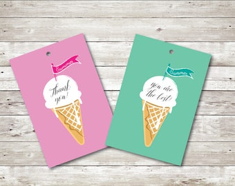 Ice Cream Tags, Thank you Tags, Party Favor, Printable Tags, Printable Favor Tags, Ice Cream Cone, Instant download, Printables, Digital