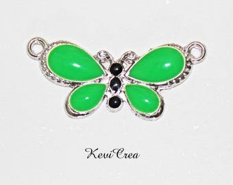 1 x green enameled silver Butterfly connector