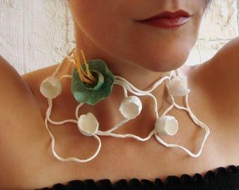 Choker Necklace, Paper Jewelry, Statement Necklace, Paper flowers necklace, Paper Jewelry,  Contemporary  jewellery