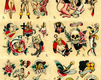 Tattoo Flash Set 15 by Brian Kelly.  6 sheets.