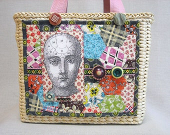 Seagrass Basket Art Quilt Handbag - Think - Feed Sack Hexagon Quilt