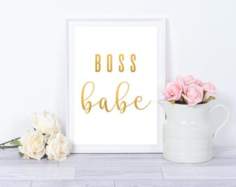 Boss Babe Metallic Foil Faux Instant Print Online | Instant Download | Downloadable Print | Gallery Wall | Printable