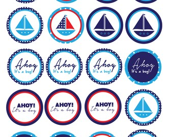 Ahoy! It's a Boy Cupcake Toppers/Decorations