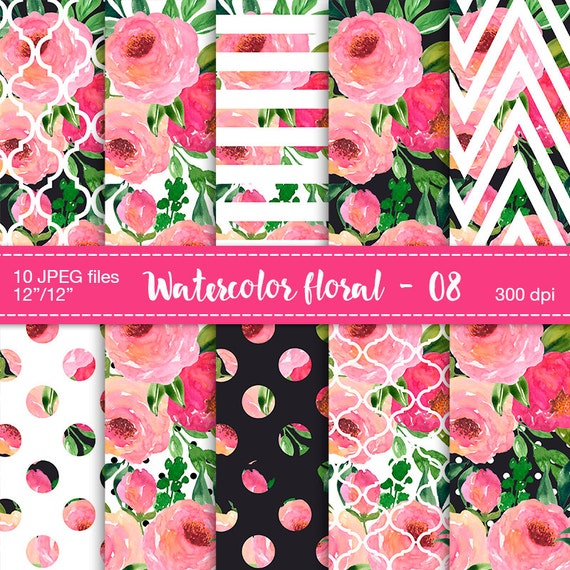 Watercolor flowers digital clipart floral digital paper digital watercolor flowers digital clipart floral digital paper digital scrapbook paper floral patterned floral pattern papers flowers pattern from mightylinksfo
