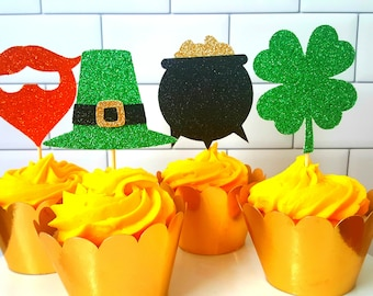 St. Patrick's Day Cupcake Toppers, St. Patrick's Day Party Decorations, Leprechaun Cupcake Toppers, Shamrock Cupcake Toppers, St. Patty's