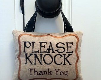 Please Knock door sign, Please Knock Hanging Door Sign, Door hanger, Embroidered door hanger,  Please Knock sign, Baby Shower Gift,
