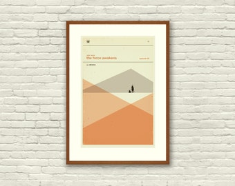 STAR WARS Inspired The Force Awakens Art Print Movie Poster - 12 x 18 Minimalist, Graphic, Mid Century Modern, Vintage Style, Coral, Salmon