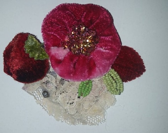 Vintage Silk Velvet Hand Dyed Flower Brooch Hair Clip with Vintage Laces, Beads, etc.