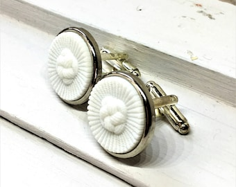 White Knitted Design Vintage Button Cuff links,  Gift for Men, Gift for Dad, Wedding Gift