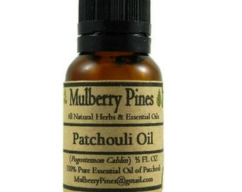 Patchouli Essential Oil - Pogostemon Cablin - 1/2 Ounce Bottle - Mulberry Pines
