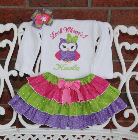 Owl Birthday Outfit Baby Girl First Birthday Owl Outfit