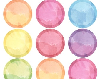 Watercolor Circles || Planner Stickers