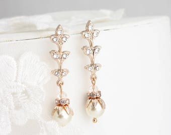 Art Deco Bridal Earrings Rose Gold Bridal Earrings Leaf Wedding Earrings Pearl Bridal Earrings Simple Vintage Wedding Jewelry NEVE