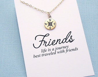 Friendship Necklace | Compass Rose Necklace, Best Friend Gift, Best Friend Necklace, Friends Friendship Gift, Best Friend Birthday Gift |F02