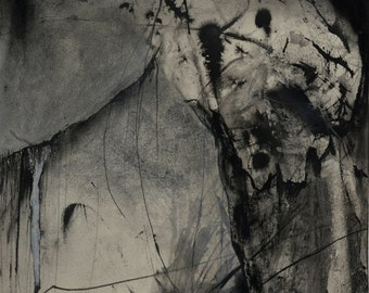 Abstract Charcoal Drawing, Charcoal and Ink on Paper, Contemporary Art, Modern Black and White Art, Mixed Media Wall Decor