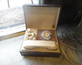 Vintage Deco Tel Rotary Telephone Box Executive Personal Desk 1970's Spy phone ,  telephone