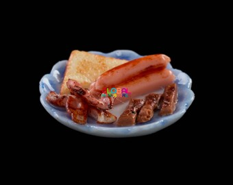 Dollhouse Miniatures Dish of Bacon Sausage and Toast Breakfast Set Food Decorating Supply - 1:12 Scale