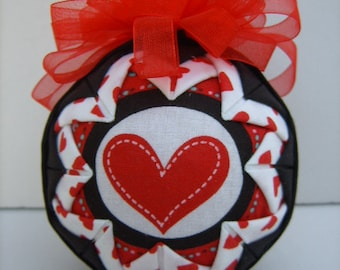 Heart Ornament/I Love You Ornament/ Quilted Ornament/Christmas Ornament/Decoration