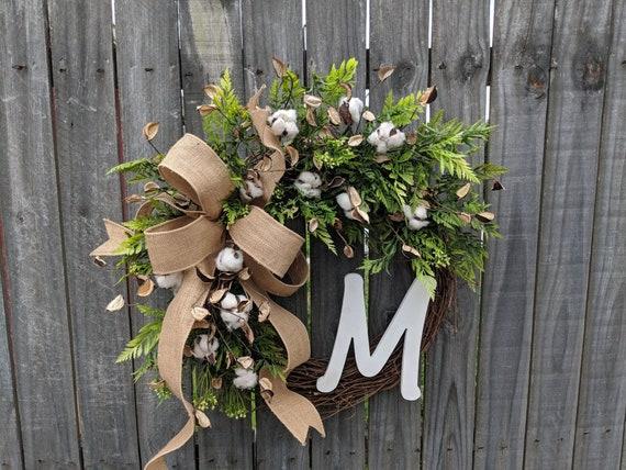 Wreath with Cotton, Monogram Wreath