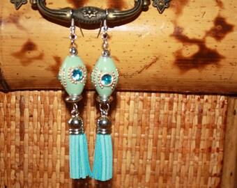 Ceramic Egg Tassle Earrings