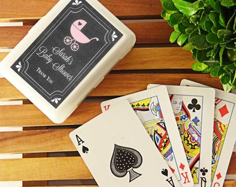 """Personalized Playing Cards, """"Chalkboard Baby Shower"""" (Set of 24 Decks) *Available in four colors, and 31 designs!*"""