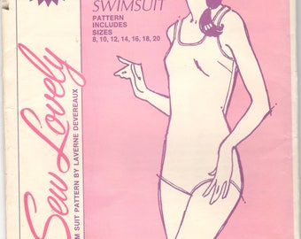 Sew Lovely SW120 1970 Misses One Piece Swimsuit Pattern Laverne Devereaux Womens Teens Vintage Sewing Pattern Size 8 10 12 14 16 18 20 UNCUT
