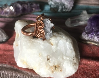 Wire Wrapped Amethyst Geode Ring