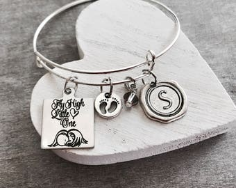 Fly high little one, Loss of Baby, Baby Memorial, Mommy of an Angel, Loss of Child, SIDS, Miscarriage, Silver Bracelet, Charm Bracelet, gift