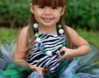 Bomber Bash Zebra Tutu 2 pc set Great for photo props, Birthday or Valentine's or Christmas gifts