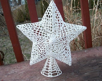 Vintage Beautiful White with Glitter Crocheted Christmas Tree Topper Star Sparkling