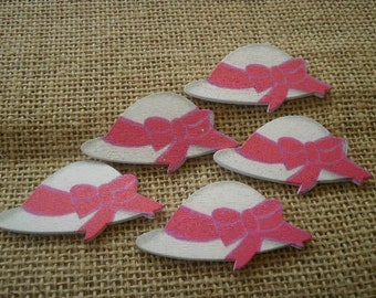 Set of 5 tiny wooden, pink and white size 57 x 30 mm