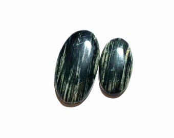 Silver leaf jasper cabochons , 60 ct , 2 pcs , oval shape , high polishing , natural stone, cabochons , code F2669