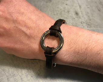 Mixed Brown stainless steel leather bracelet