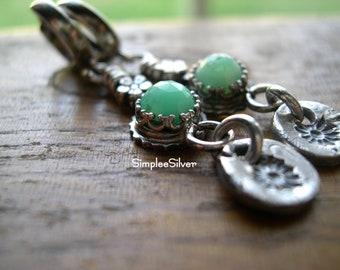 Artisan Jewelry  -  Sterling Silver Dangle Earrings  -  Sterling Hoop Earrings  -  Chrysoprase Earrings  -  Daisy Earrings  -  SimpleeSilver